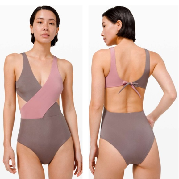 Lululemon Wrap One Piece Pink Taupe Swimsuit XL